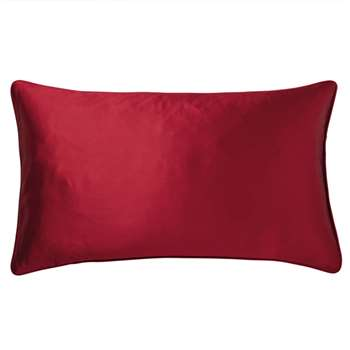 Silk and Cotton Cushion Cover, Small - Rubellite (35 x 60cm)