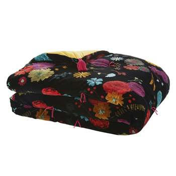 SILVANA Mustard Yellow Reversible Cotton Boutis Quilt with Black Floral Print (H200 x W100 x D3cm)