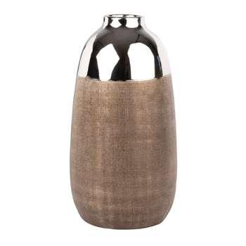 Silver and Bronze Tone Ceramic Ribbed Vase (H30 x W16 x D16cm)