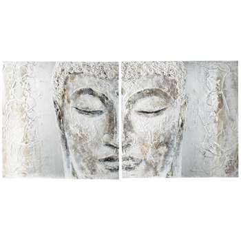 Silver Bouddha Hand Painted Diptych Canvas In Silver (97 x 194cm)