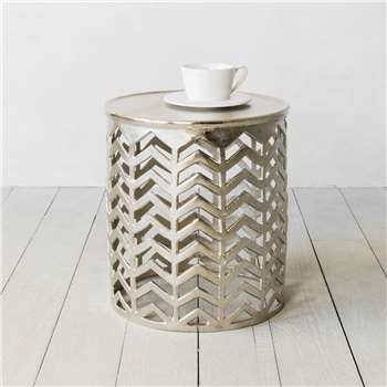 Silver Chevron Side Table (H46 x W40.5 x D40.5cm)