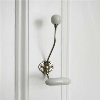 Silver Coat Hook With White Ceramic Knobs (H22 x W8.7cm)