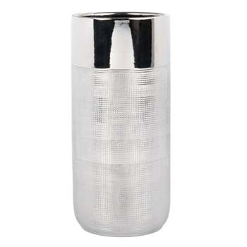 Silver Cylindrical Ceramic Vase (H24.5 x W10.5 x D10.5cm)