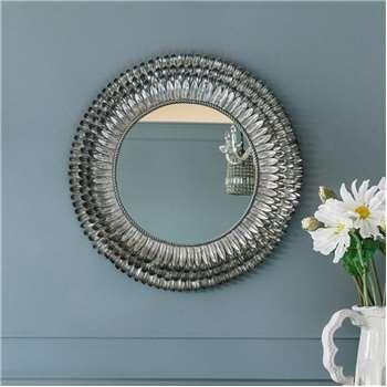 Small Silver Feather Mirror (Diameter 71cm)
