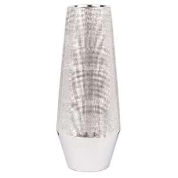 Silver Ribbed Ceramic Vase (H30.5 x W12 x D12cm)