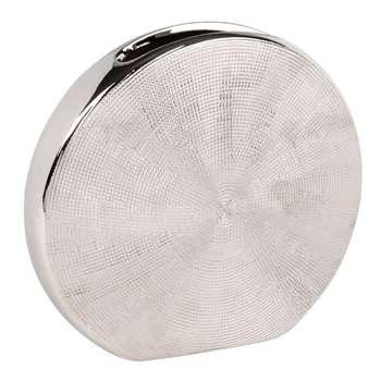 Silver Stoneware Moon Vase (H20.5 x W22 x D7cm)