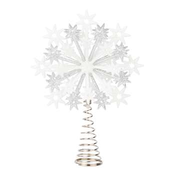 Silvery and White Stars and Snowflakes Christmas Tree Topper (H17 x W12 x D6cm)