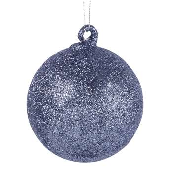 Silvery Glass Christmas Bauble with Glitter (H8 x W8 x D8cm)