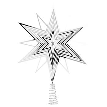 Silvery Metal Star Christmas Tree Topper (H29.5 x W20 x D8.8cm)