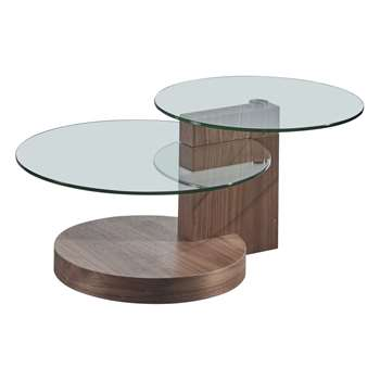 SIMA - 2 Level Glass Coffee Table (H43 x W107 x D70cm)