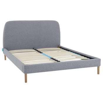 SIMBA Upholstered Bed Frame with Headboard, Double, Grey (H106 x W147 x D208cm)
