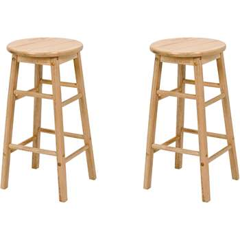 Simple Value Pair of Natural Wooden Kitchen Stools