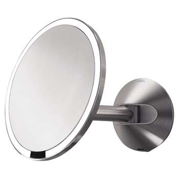 simplehuman Mounted Magnifying Sensor Mirror, Battery Operated, Polished Chrome (H23 x W23 x D27cm)