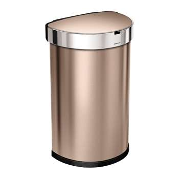 simplehuman - Semi-Round Sensor Bin with Liner Pocket - Rose Gold (H64.1 x W29.1cm)