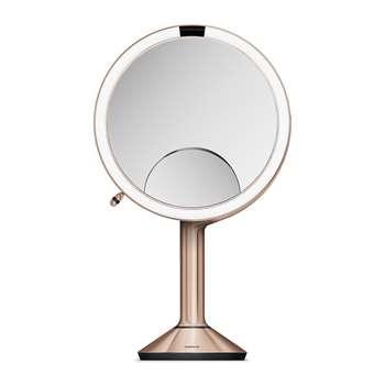 simplehuman - Trio View Sensor Mirror with Brightness Control - Rose Gold (H44.5 x W20cm)