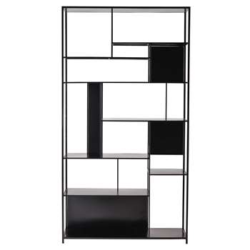 SIMPLY Metal shelf unit in black, Geometric 200 x 107cm