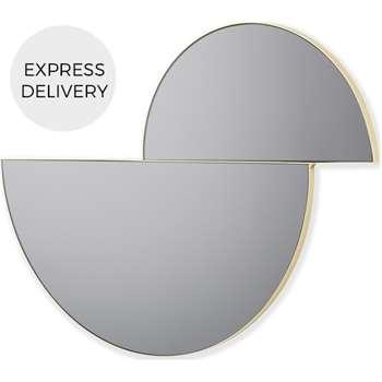 Sina Decorative Half Circles Wall Mirror, Brass (H60 x W72 x D2cm)