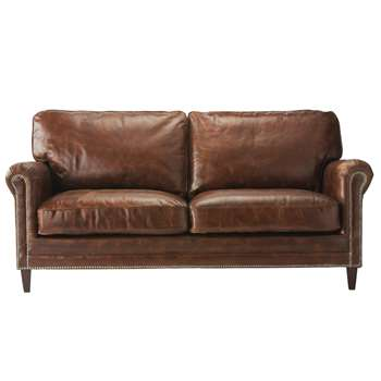 SINATRA 2 seater leather sofa in brown (92 x 185cm)