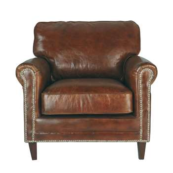 SINATRA Distressed leather armchair in brown (90 x 88cm)