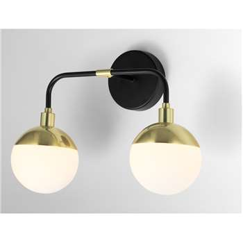 Siren Bathroom Double Wall Lamp, Black & Brushed Brass (H18 x W37 x D27cm)