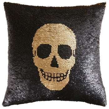 SKULLY Reversible Sequinned Cushion with Skull Print (H45 x W45cm)