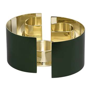 Skultuna - Infinity Candle Holder - Dark Green - Small (Height 6cm)