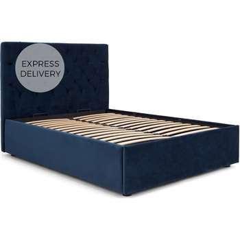 Skye Double Bed with Storage, Royal Blue Velvet (H128 x W150 x D205cm)