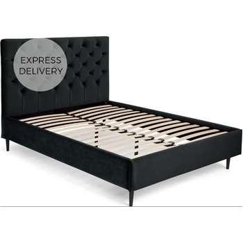 Skye King Size Bed, Midnight Grey Velvet (H128 x W163 x D212cm)