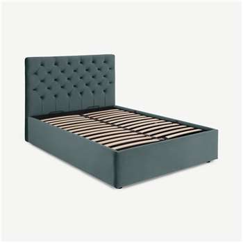 Skye King Size Bed with Ottoman Storage, Marine Green Velvet (H128 x W165 x D213cm)