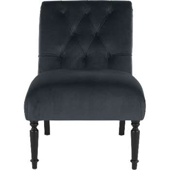 Slipper Accent Chair, Midnight Grey Velvet (78 x 85cm)