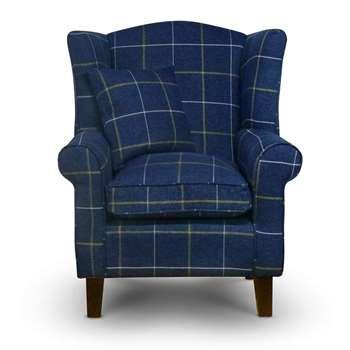 Sloane & Sons - Tartan Wingback Fabric Armchair, Blue (H90 x W84 x D77cm)