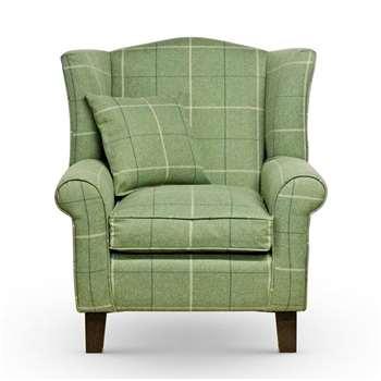 Sloane & Sons - Tartan Wingback Fabric Armchair, Green (H90 x W84 x D77cm)