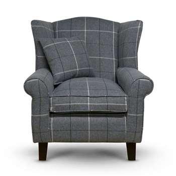 Sloane & Sons - Tartan Wingback Fabric Armchair, Grey (H90 x W84 x D77cm)