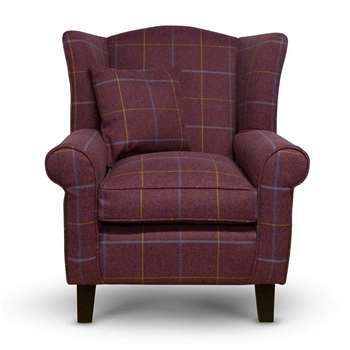 Sloane & Sons - Tartan Wingback Fabric Armchair, Red (H90 x W84 x D77cm)