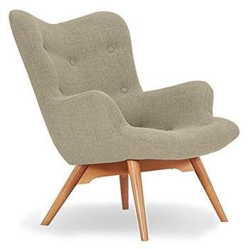 Sloane & Sons - Wingback Angel Lounge Armchair, Beige (H88 x W71 x D85cm)