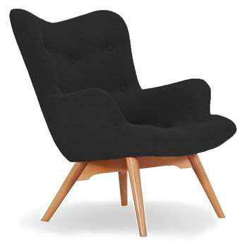 Sloane & Sons - Wingback Angel Lounge Armchair, Black (H88 x W71 x D85cm)