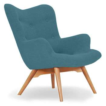 Sloane & Sons - Wingback Angel Lounge Armchair, Blue (H88 x W71 x D85cm)