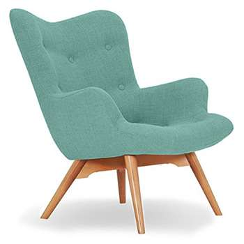 Sloane & Sons - Wingback Angel Lounge Armchair, Duck Egg (H88 x W71 x D85cm)