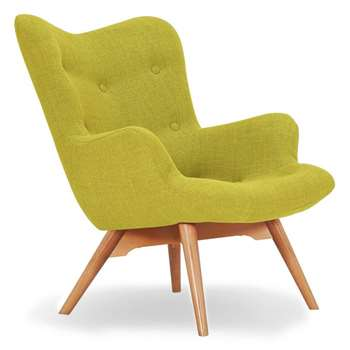 Sloane & Sons - Wingback Angel Lounge Armchair, Green (H88 x W71 x D85cm)