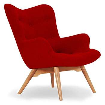 Sloane & Sons - Wingback Angel Lounge Armchair, Red (H88 x W71 x D85cm)
