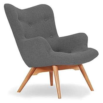 Sloane & Sons - Wingback Angel Lounge Armchair, Silver (H88 x W71 x D85cm)