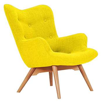 Sloane & Sons - Wingback Angel Lounge Armchair, Yellow (H88 x W71 x D85cm)