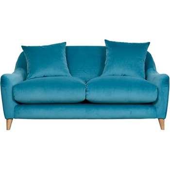Slouch 2 Seater Blue Velvet Sofa (H84 x W182 x D107cm)