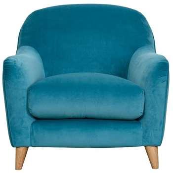 Slouch Blue Velvet Armchair (H84 x W90 x D90cm)
