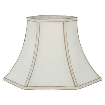 "Slubby Polysilk 12"" Bowed Hexagonal Lamp Shade (H24.5 x W30 x D30cm)"