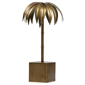 BePureHome - Small Decorative Palm Tree in Antique Brass (H40 X W19 X D19cm)