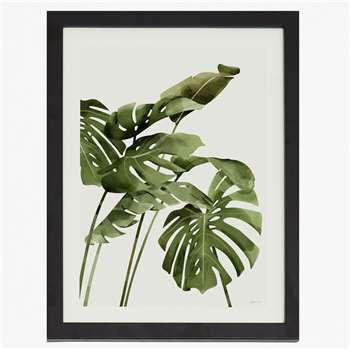 Small Framed Tropical Leaf Print - White (40 x 30cm)