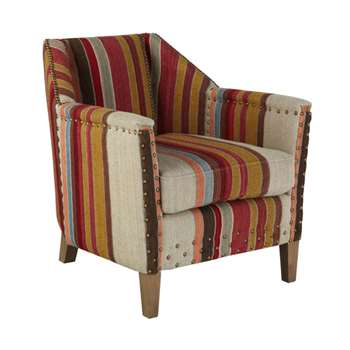 Small George Club Chair, Oak Legs - Multi (71 x 61cm)