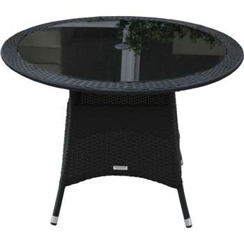 Small Round Rattan Garden Dining Table in Black (72 x 105cm)
