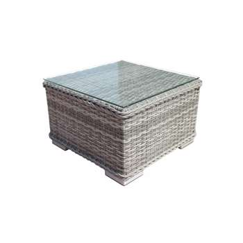 Small Square Rattan Garden Side Table in Grey (27 x 45cm)